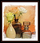 Decanters Art - My Three Roses Still Life by Marsha Heiken
