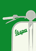 Minimal Digital Art Posters - My Vespa - From Italy With Love - Green Poster by Chungkong Art
