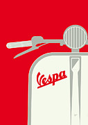 Motion Prints - My Vespa - From Italy With Love - Red Print by Chungkong Art