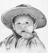 Little Boy Drawings Framed Prints - My Wide-brimmed Hat Framed Print by Lew Davis