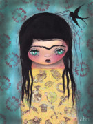 Big Eyes Posters - My Yellow Dress Poster by  Abril Andrade Griffith
