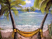 Sand Castles Painting Metal Prints - My Yellow Hammock Metal Print by Jan Muse