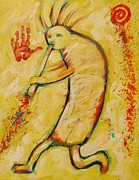 Indian Tribal Art Paintings - My Yellow Kokopelli by Carol Suzanne Niebuhr