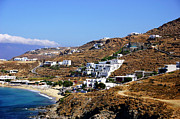 School Houses Framed Prints - Mykonos Mountain View Framed Print by John Rizzuto