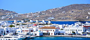 Mills Framed Prints - Mykonos Port Framed Print by Corinne Rhode