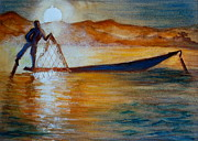 Southeast Asia Paintings - Mynamar Fisherman by Myra Evans