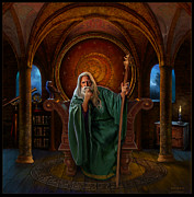 Merlin Digital Art Posters - Myrddin Poster by Bob Nolin