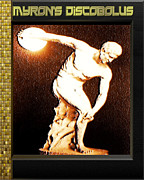 Greek Sculpture Framed Prints - Myrons Diskobolus Framed Print by Museum Quality Print Modern Interior Decorating