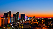 Night Time Lights Posters - Myrtle Beach Skyline Sunset Poster by Matthew Trudeau