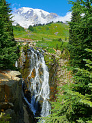 Mount Washington Mixed Media Prints - Myrtle Falls - Mt Rainier National Park Print by Photography Moments - Sandi