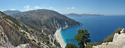 Mountains  Pyrography Framed Prints - Myrtos Beach Kefalonia Framed Print by Karl Wilson