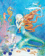Mermaids Paintings - Mysitcal Mermaid in Blue by Kat Walker