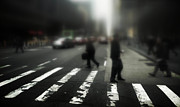 Pedestrian Prints - Mysterious business men in New York City crosswalk Print by Amy Cicconi