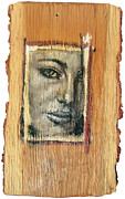 Makeup Reliefs Prints - Mysterious Girl Face Portrait - Painting On The Wood Print by Nenad  Cerovic