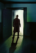 Trenchcoat Posters - Mysterious Man in Doorway Poster by Jill Battaglia