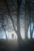 Mysterious Stranger Framed Prints - Mysterious Man Running In Foggy Woods At Nighttime Framed Print by Lee Avison