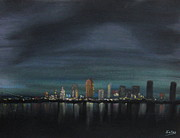 Night Scene Pastel Framed Prints - Mysterious Metropolis  Framed Print by Francisco Sanchez Salas