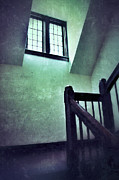 Wooden Stairs Prints - Mysterious Stairway Landing Print by Jill Battaglia