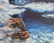 Sea Moon Full Moon Painting Metal Prints - Mysterious Water Metal Print by Cheryl Pettigrew