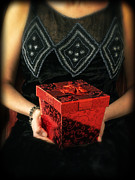 Box Prints - Mysterious Woman with Red Box Print by Edward Fielding