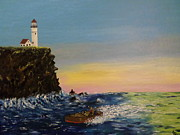 Boats In Water Paintings - Mystery At The Lighthouse by Joe McClellan