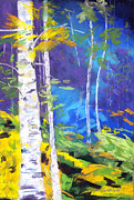 Mystery Pastels Posters - Mystery Behind the birches Poster by Diana Tripp