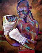 Boxer Art Paintings - Mystery Boxer by Robert Phelps