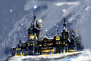 Amazing Mixed Media Prints - Mystery Castle in the snow Print by Lily April