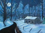 Snow Scene Painting Originals - Mystery Forest by Seth Wade