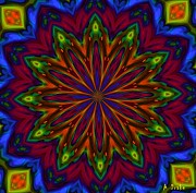 Purple Kaleidoscopes. Prints - Mystery Garden Bloom Print by Alec Drake
