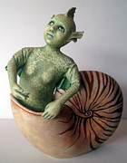 Mixed Media Sculpture Posters - Mystery of the Nautilus - figurative sculpture Poster by Linda Apple