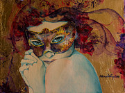 Masks Prints - Mystery Roses Print by Dorina  Costras