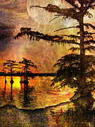 Cypress Trees Digital Art Posters - Mystery Sunrise With Moon Poster by J Larry Walker