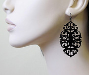 Large Earrings Jewelry - Mystery - Victorian Lace Statement Earrings by Rony Bank