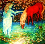 Gay Art Framed Giclee On Canvas Framed Prints - Mystic and the Red Pony Framed Print by Gunter  Hortz