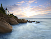 Lighthouse At Sunset Prints - Mystic Dawn Print by James Charles