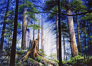 Tall Trees Paintings - Mystic Forest Majesty by Hanne Lore Koehler