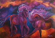 Spanish Horses Paintings - Mystic Horses by Leni Tarleton