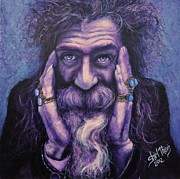 Crazy Painting Framed Prints - Mystic Man Framed Print by Shirl Theis