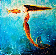 Young Painting Prints - Mystic Mermaid II Print by Shijun Munns