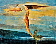 Mermaids Paintings - Mystic Mermaid III by Shijun Munns