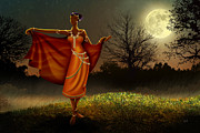 African Dance Mixed Media Posters - Mystic Moonlight V2 Poster by Bedros Awak