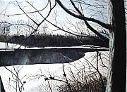 Snow Scene Paintings - Mystic River - Winter Remnants by June Holwell