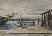 Old Sailing Ship Paintings - Mystic Seaport Joseph Conrad and Clam Shack by Patty Kay Hall