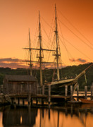 Schooners Framed Prints - Mystic Seaport Sunset-Joseph Conrad tallship 1882 Framed Print by Thomas Schoeller