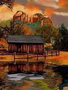 Autumn Landscape Mixed Media Prints - Mystic Sedona Cabin Print by Craig Nelson