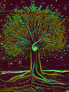 Celtic Spiral Posters - Mystic Spiral Tree  green by jrr Poster by First Star Art