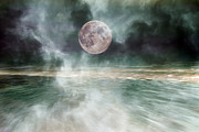 Fog Rising Posters - Mystical Beach Moon Poster by Betsy A Cutler East Coast Barrier Islands