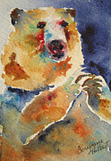 Abstract Wildlife Paintings - Mystical Bear by Corynne Hilbert