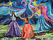 Girls Mixed Media Originals - Mystical Night by Beth Watkins